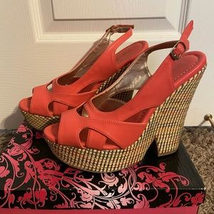 Coral and Rainbow Open-Toe Wedges